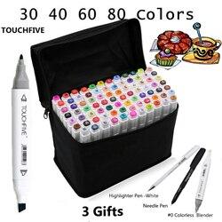 Touchfive 30406080 لون مزدوج الرأس الفن علامات القلم الزيتية الكحولية رسم ماركر فرشاة القلم لوازم الفن لرسم المانجا الرسوم المتحركة