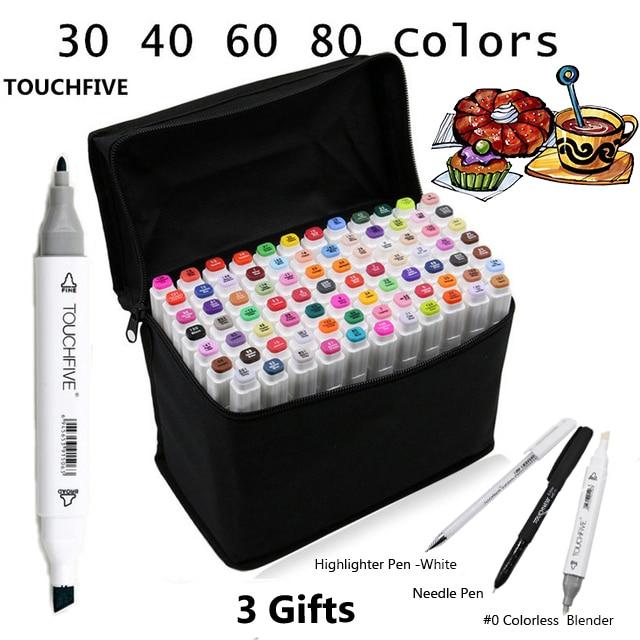 Touchfive 30406080 Cores Cabeça Dupla Caneta Oleosa Álcool Marcador Esboço Marcadores Da Arte Pincel Caneta material de Arte para Animação Desenhar Mangá