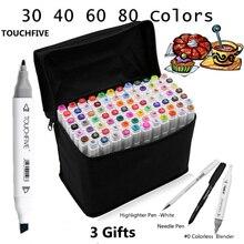 Touchfive 30406080 Farben Dual Head Kunst Marker Stift Fettige Alkoholische Skizze Marker Pinsel Pen Malutensilien für Animation Manga Ziehen