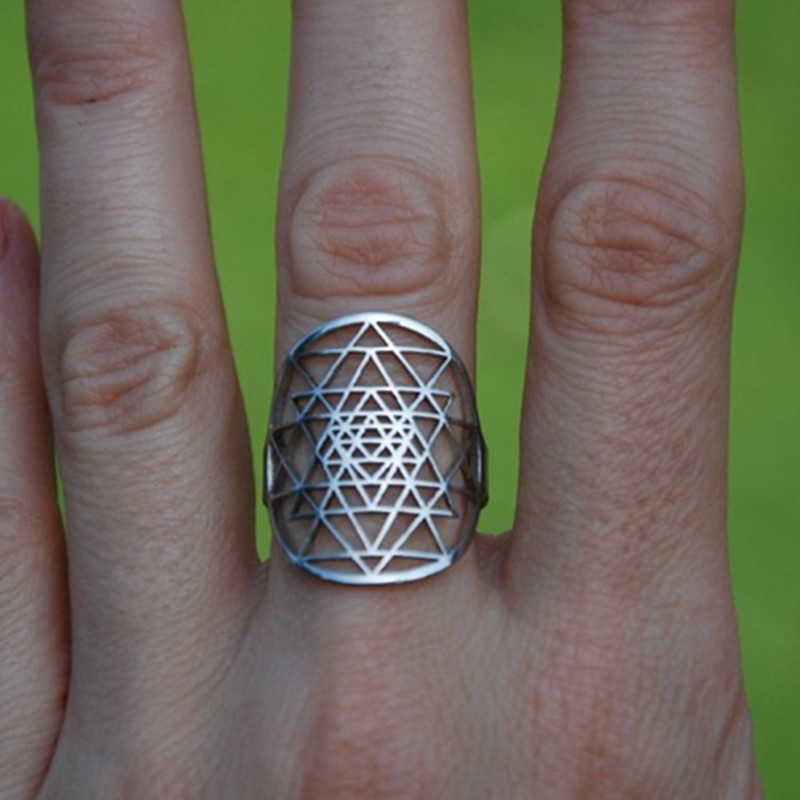 Drop shipping Sri Yantra rings Silver plated Ring for women adjustable size Fashion Jewelry in Rings from Jewelry Accessories
