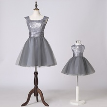 Grey wedding dress child flower girl dress skirt formal dress princess dress performance wear fashion family