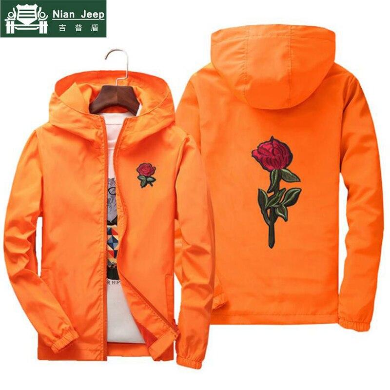 Nianjeep Jacket Windbreaker Men Women Rose College Jackets Spring Autumn Fashion Jacket Men's Hooded  Men Jacket