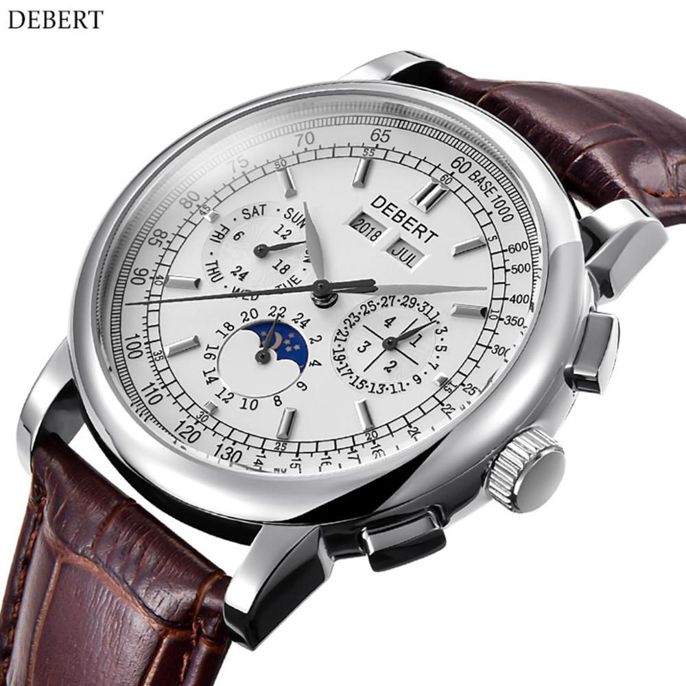 Mens Watches Mechanical-Watch Moon-Phase Luxury Automatic Clock-Calendar Top-Brand Relogio