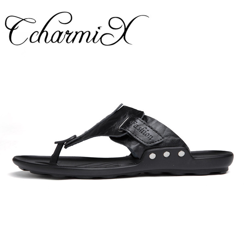 987cd473ec48bc Detail Feedback Questions about CcharmiX 2019 Summer Men Flip Flop Beach  Mens Slippers Casual Office Top Quality Leather Male Footwear Sea Water  Shoes Big ...