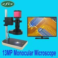 Ефикс 13MP HDMI VGA монокулярный микроскоп HD цифровой Камера + C креплением + 56 светодиодный кольцо свет + подставка ремонт телефонов паяльник