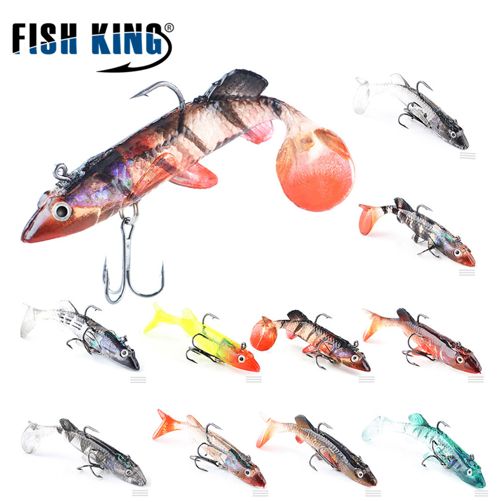 цена  FISH KING  5pcs/lot 80mm 9g Soft Bait 5 Colors Fishing Lure Soft Lures for Lake River Fishing Excellent Fishing Tackle  онлайн в 2017 году