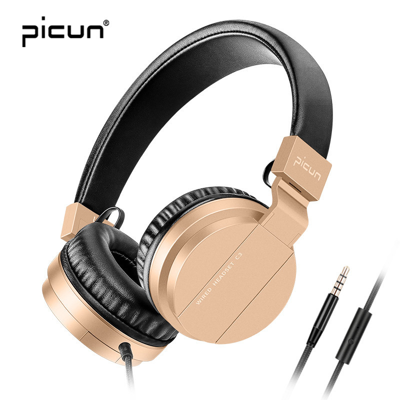Picun C3 Sport MP3 Headphone Rose Gold Girl's Headsets Deep Bass FM Radio For Sumsung Xiaomi For Huawei For Sony Iphone Computer