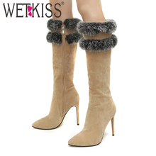 WETKISS Winter Knee High Women Boots Pointed Toe Flock Fur Footwear Tassel High Heels Female Boot Shoes Women 2018 Plus Size 46
