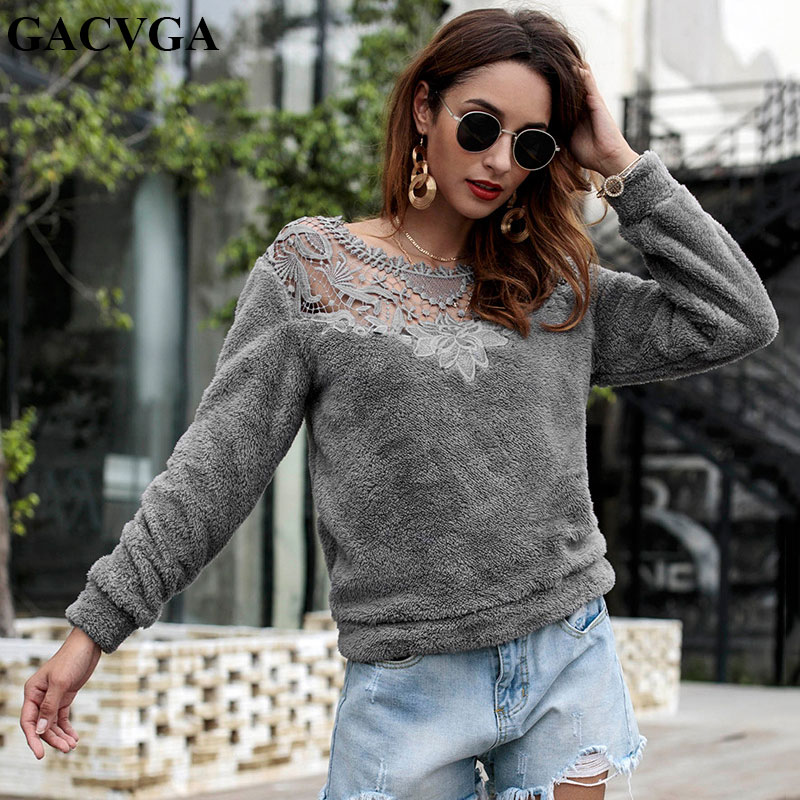 GACVGA 2018 Casual Lace Patchwork Autumn Winter Sweater Warm Velvet Women Knitted Sweater And Pullovers Full Sleeve Sweaters