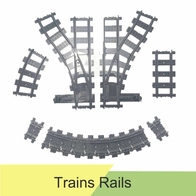 10-100pcs City Train Track Rail Straight & Curved Rails Flexible Rail Switch Building Blocks Compatible Legingly Track Kid Toys