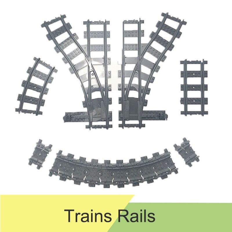 10-100pcs City Train Track Rail Straight & Curved Rails Flexible Rail Switch Building Blocks Compatible LegoINGly Track Kid Toys