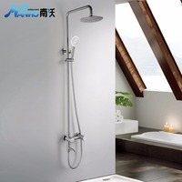 1 Set Bathroom Rainfall Shower Faucet Set Mixer Tap With Hand Sprayer Wall Mounted Chrome N