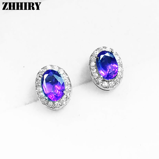 Women Natural Amethyst Earrings Genuine 925 Sterling Silver Color Gem Jewelry Stone Size 4 6mm