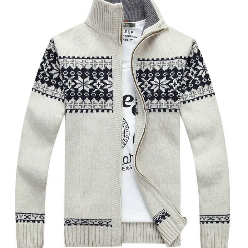 Sweater Men's New Fashion Jacquard Thick Sweater Autumn Winter Warm Zipper Cardigan Men's Casual Sweater Size M-3XL
