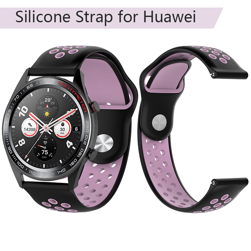 Double Color Rubber Watchband Silicone Replacement Wrist Strap Band for Huawei Honor Magic Watch Band Wristband Bracelet Belt