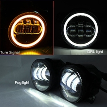 2X 4inch 30W LED Fog Light for 2007-2015 Jeep Wrangler JK CJ TJ LJ Red Turn Signal Light