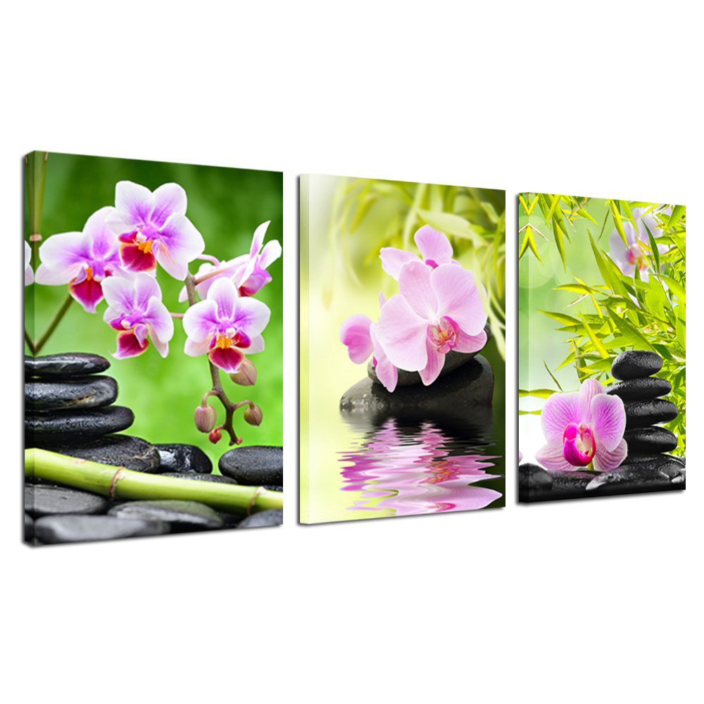 purple orchid flower bamboo stone 3 pieces giclee art work canvas prints zen art wall decor - Spa Decor