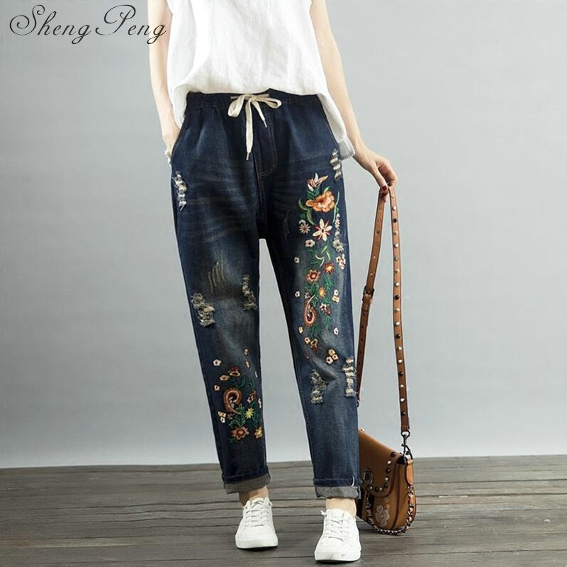 Jeans 2018 Women embroidery jeans female jeans with embroidery boyfriend jeans for women trousers high waist CC289-in Jeans from Women's Clothing    1