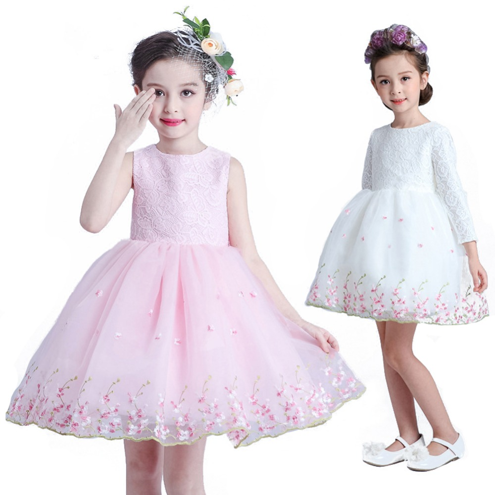 Children Girls Floral Pink White Princess Dress Flower Girls Lace Dress With Big Bowknot floral applique bowknot top with shorts