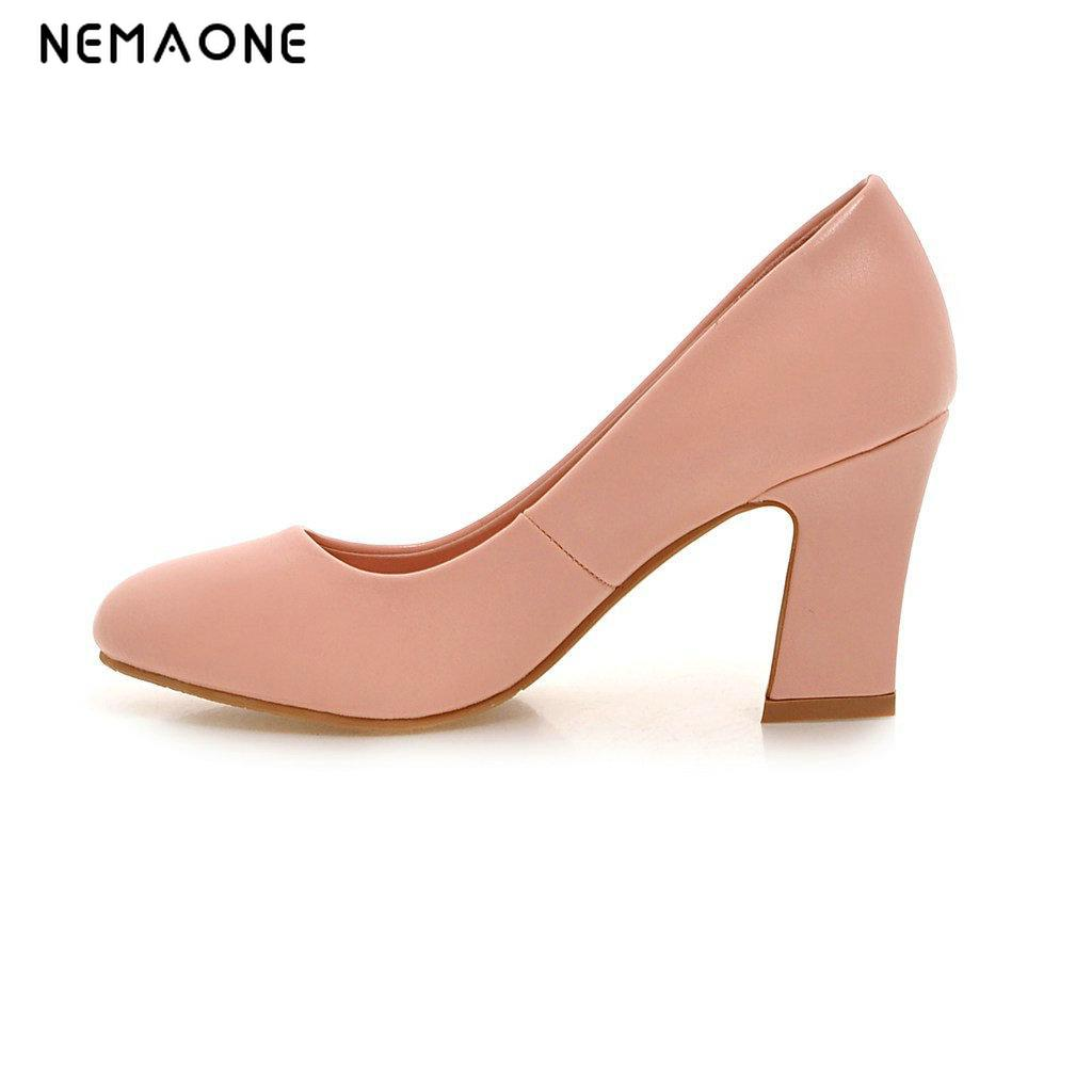 NEMAONE Women Shoes Mary Jane Ladies High Heels White Wedding Shoes Thick Heel Pumps Lady Shoes Black Pink Beige Plus Size 43 10