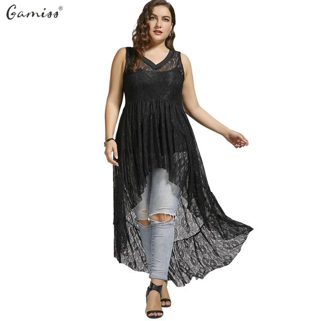 7808f47d925 Gamiss Women Long Blouse High Low See Through Lace Plus Size Tops Sexy V-Neck  Sleeveless Female Flower Lace Chiffon Shirts Top