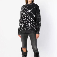SE Knit Mohair Planet Star Knitted Sweater Pullovers O Neck Long Sleeve Black Sweater Runway Fashion Oversize Sweater navy oversize knit crew neck sweater