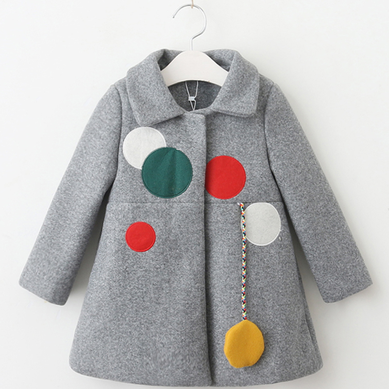 DZIECKO 2018 Fashion Girls Wool Coat Winter Outerwear Wool Blend Overcoat Warm Woollen Jacket Children Clothing New Year Costume lapel pea coat in wool blend