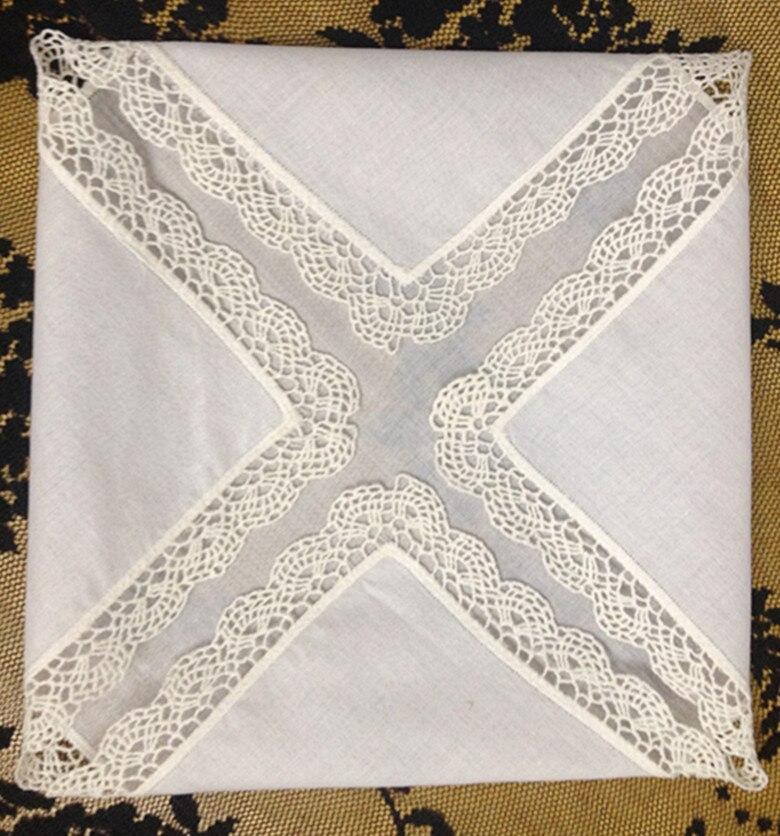 Set Of 12 Fashion Ladies Handkerchiefs Cotton Hankie Sweet Heart Hankies Vintage Lace Hanky Wedding Handkerchief 12-inch