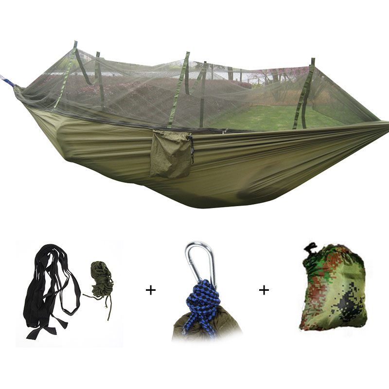 Popular Brand 260x140cm Portable Parachute Fabric Camping Hammock Hanging Bed With Mosquito Net Sleeping Hammock Outdoor Hamaca Warm And Windproof Sleeping Bags