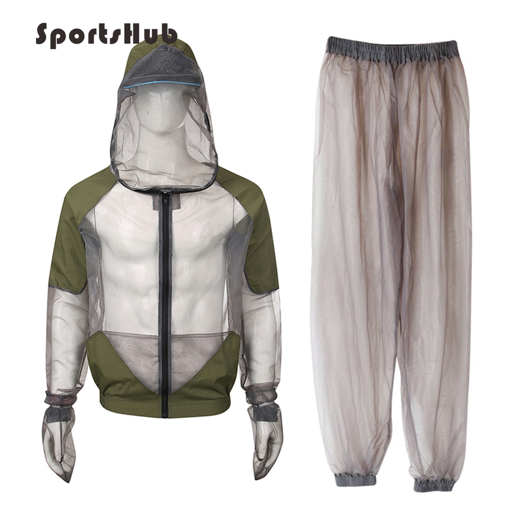 SPORTSHUB  Summer Anti-mosquito Ultra-Light Hooded Hiking Shirts Suits Sets Breathable Mesh Camping Clothes Set FT0080-2