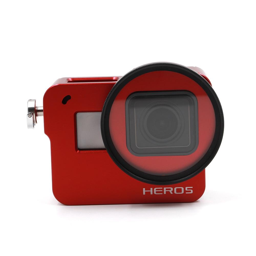 TELESIN Red Aluminum Skeleton Rugged Cage with Back Cover + 52mm UV Lens + Lens Cap for GoPro Hero 6 Hero 5 Frame Housing Case