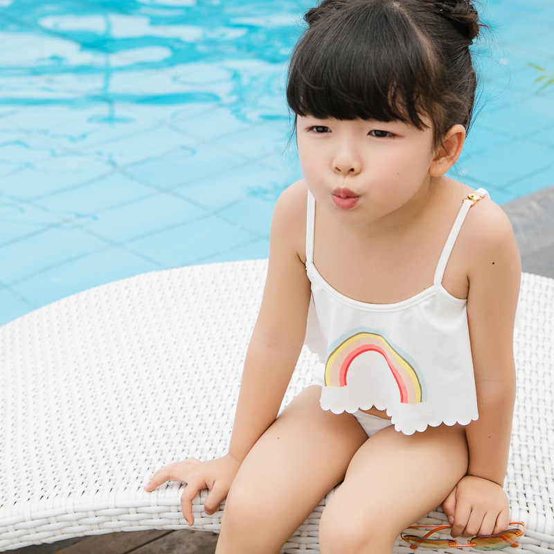 bd4e8ff4c0 ... New Summer Baby Girls Two Pieces Rainbows Swimwear Kids Beach Bikini  Bathing Suits Children Clothing Sets ...