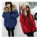 Parkas Mujeres Moda Loose Abrigo de Invierno de Cordero Caliente de Algodón Acolchado chaqueta 2016 Chaqueta de La Manga Completa Mujer Fuax Cuello de Piel Más abrigos