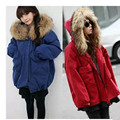 Parkas Women Fashion Loose Coat Winter Warm Lamb Cotton Padded Jacket 2016 Full Sleeve Jacket Female Fuax Fur Collar Over Coats