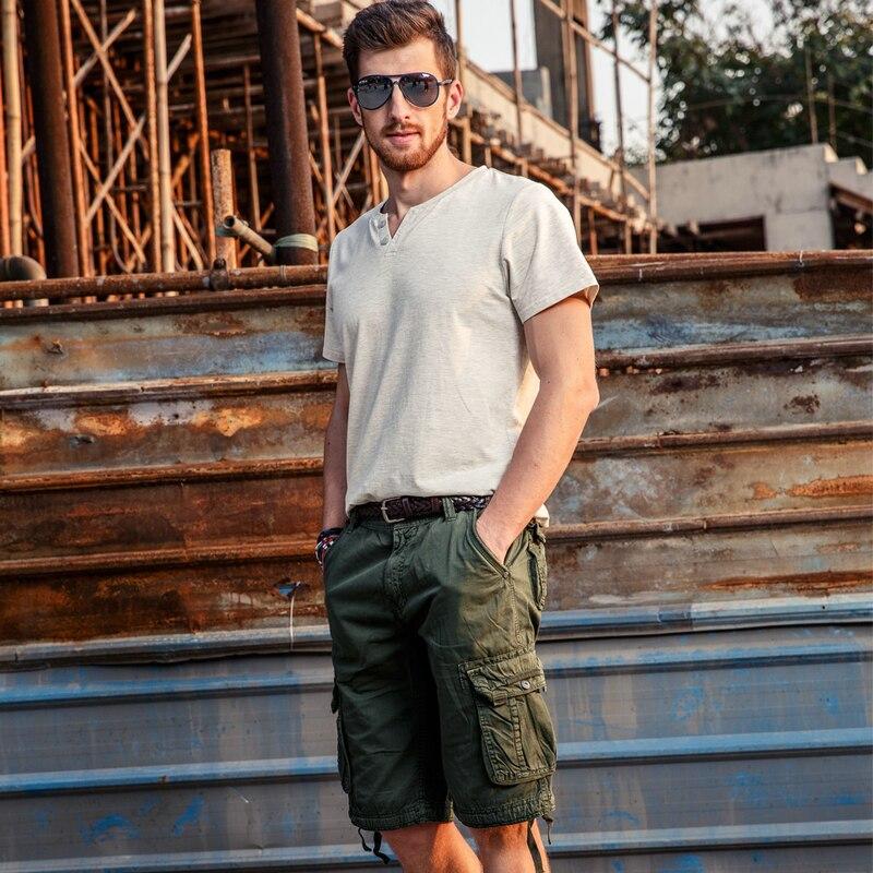 drop penghantaran lelaki kargo seluar pendek 100% kapas musim panas - Pakaian lelaki - Foto 4