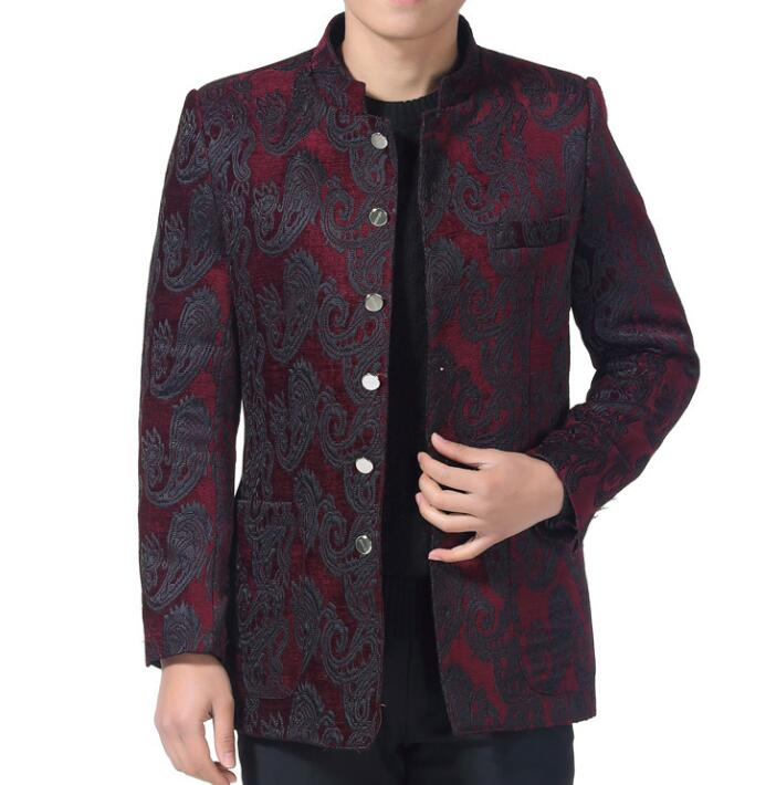 stand collar chinese tunic suits casual men blazers quinquagenarian male spring and autumn wedding tang suit mens chinese style single breasted slim fit blazer men chinese tunic suit jacket male suits man fashion blazers stand collar autumn plus velvet