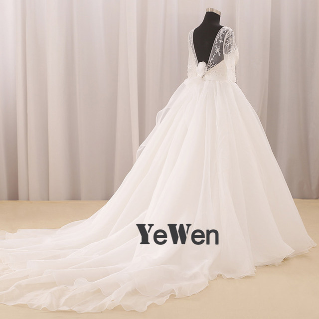Online Shop 1.2M train Aline Wedding dress 2018 Yewen off shoulder ...