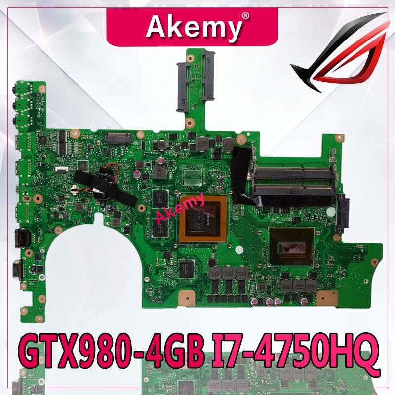 Akemy <font><b>ROG</b></font> <font><b>G751JY</b></font> Laptop motherboard For <font><b>Asus</b></font> <font><b>G751JY</b></font> G751JT G751JL G751J G751Tested original mainboard I7-4750HQ SR18J GTX980-4GB image