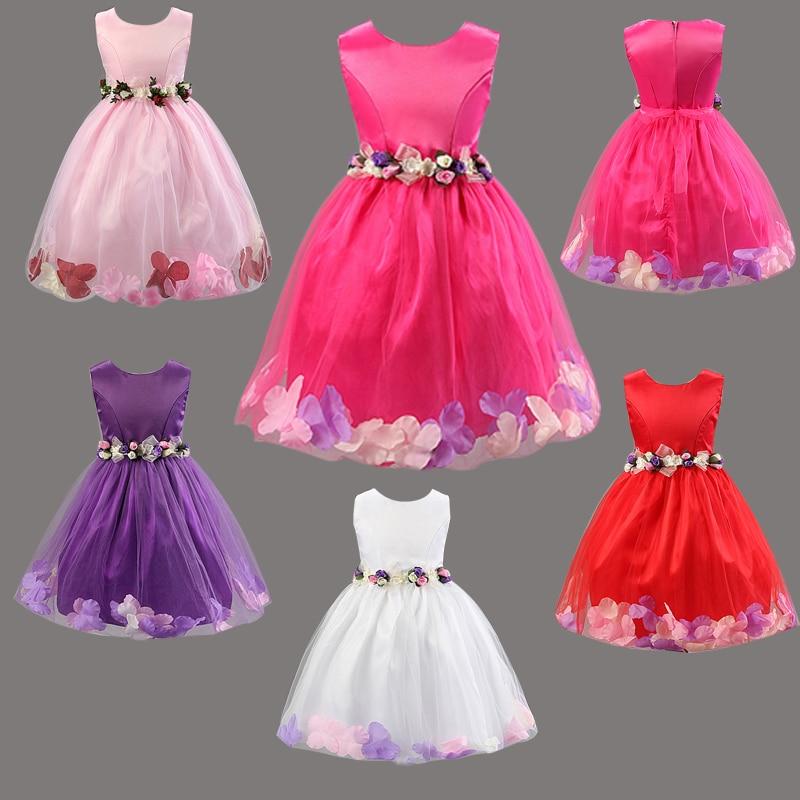 L101 Fashion Summer Girl Dress Elegant Flowers Dress Sleeveless Flower petal Hem Baby Girl Princess Dress Girl Summer Clothes