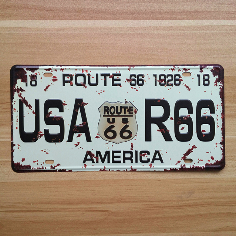 UA-CP-0048 Vintage metal License Number  USA -R66 America  Carplates tin signs plaque poster wall sticker home decor 30*15 CM