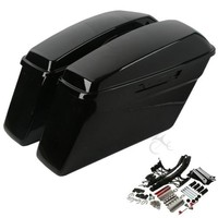 Motorcycle Vivid Black Hard Saddlebags With Latch Keys Lids For Harley Touring Road King Road Glide Street Glide 2014 2018