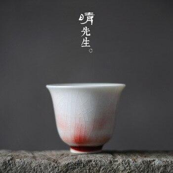 Jingdezhen seramik fincan manuel doğal akış akış kırmızı sır çay fincanı kırık sır örnek çay bardağı doğal değişken soda yakmak için