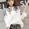 2016 Blusas Femininas Женщины Хлопок Блузка Плюс Размер Шифон Блузки Вышивка Леди Цветочные Рубашка Белый Кимоно Кардиган 5XL Топ