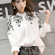 2016 Blusas Femininas Women Cotton Blouse Plus Size Chiffon Blouses Embroidery Lady Floral Shirt White Kimono Cardigan 5XL Top