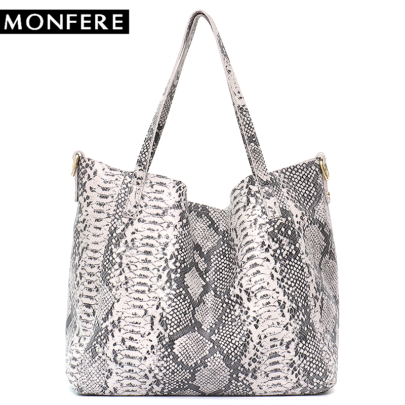 MONFERE Serpentine Leather Tote Bag Women Shoulder Bags Large Capacity Snake High Quality Leather Bucket Shopping Bag Liner Bag