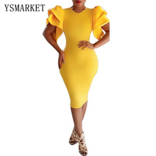 2017 Plus Size Sexy Ruffle Sleeve Frilled Dresses Yellow Short Sleeve Solid Silm Bodycon Silky Women Pencil Midi Dress H6241