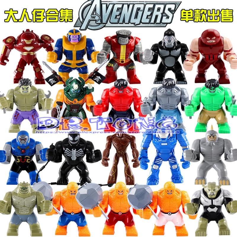 DR.TONG Super Heroes 7cm High Figures Abomination Hulk Venom Dogshank Ninja Building Blocks Set Model Bricks Toys Children Gifts