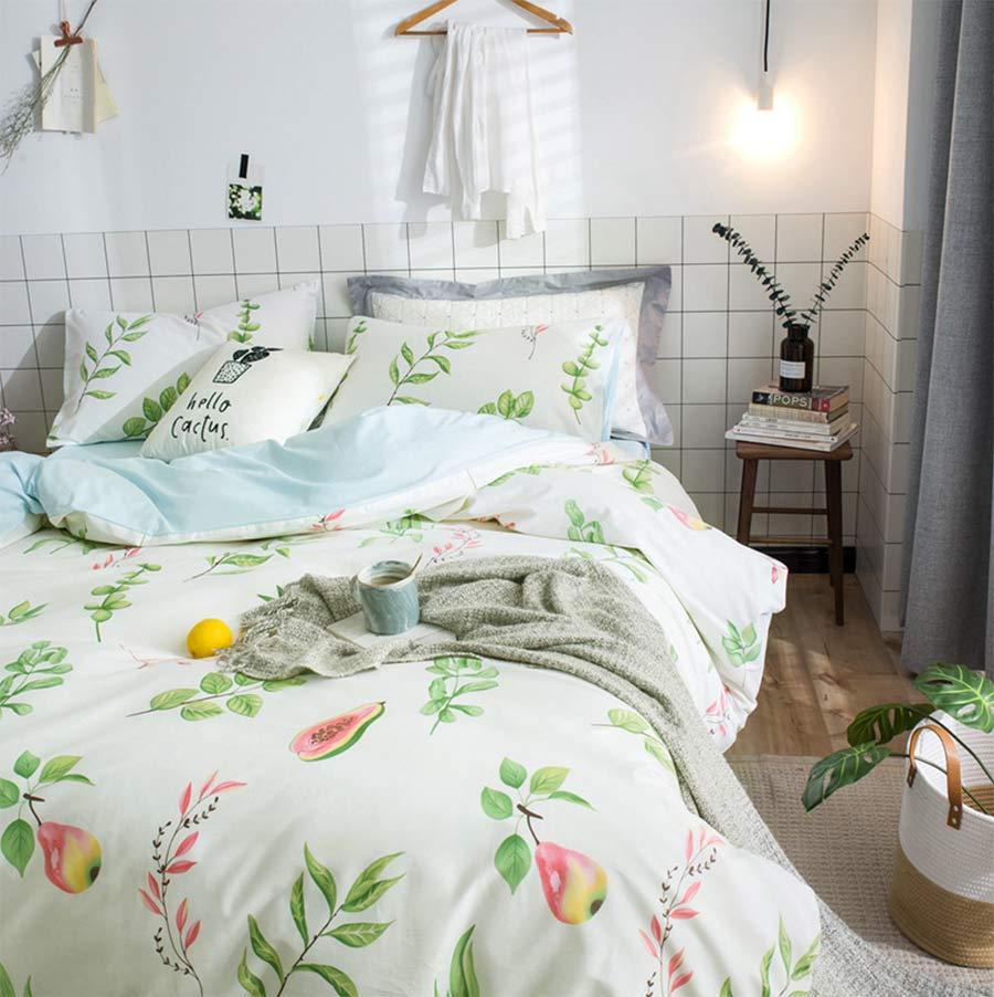 Cute plant bedding set teen child girl,twin full queen ...