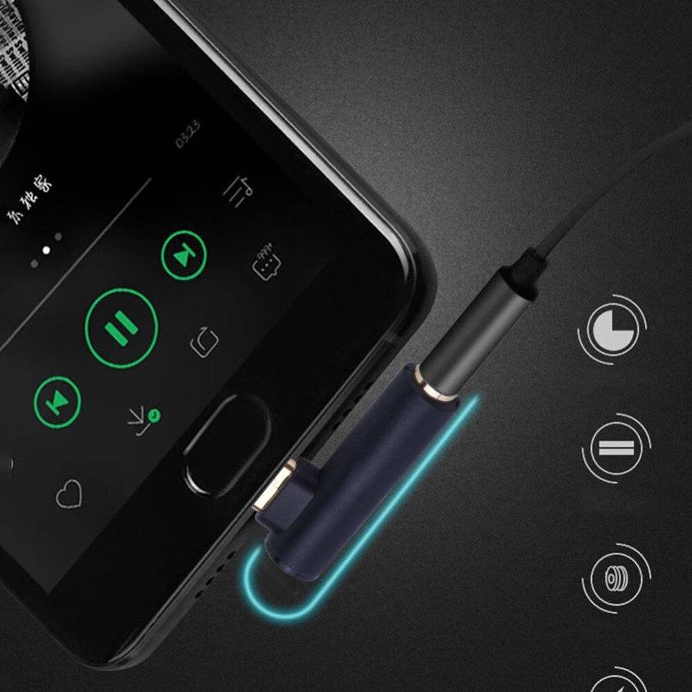 2pcs/set 3.5mm Jack To Type-C Audio Adapter 90 Degrees Right Angled Headphone Splitter Converter Hot