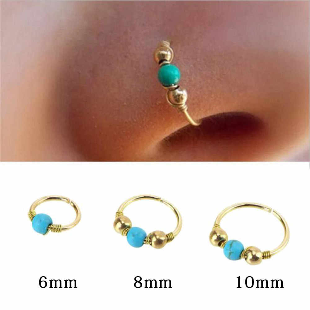 Hot brand women girl Stainless Steel Nose Ring Turquoise Nostril Hoop Nose Piercing Jewelry L2#1809262515
